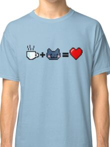 """Tea + Cat = Love"" 8-bit :3 Classic T-Shirt"