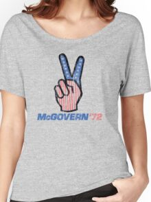 George McGovern Hand Peace Sign 1972 Presidential Campaign Women's Relaxed Fit T-Shirt