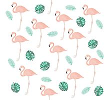 Hand paint pink flamingo tropical leaf watercolor Photographic Print