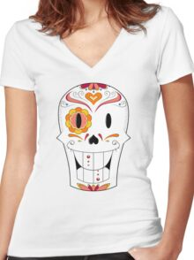 Papyrus Sugar Skull Women's Fitted V-Neck T-Shirt