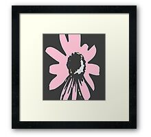 Retro pretty daisy pink black floral pattern Framed Print