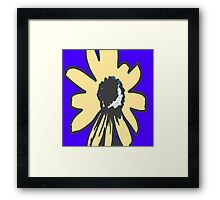 Retro pretty daisy blue yellow floral pattern Framed Print
