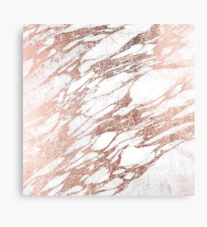 Chic Elegant White and Rose Gold Marble Pattern Canvas Print
