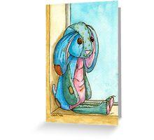 Shabby Blue calico bunny Greeting Card