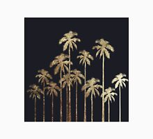 Glamorous Gold Tropical Palm Trees on Black Women's Fitted Scoop T-Shirt