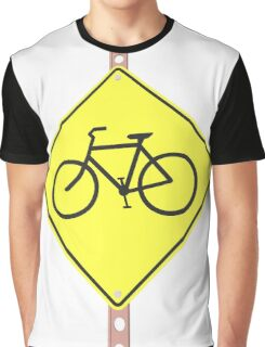 """""""Bicycles ahead"""" - 3d illustration of yellow roadsign isolated on white background Graphic T-Shirt"""