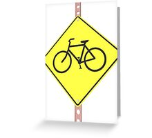 """Bicycles ahead"" - 3d illustration of yellow roadsign isolated on white background Greeting Card"