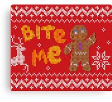 Ugly Christmas Sweater: Bite Me Gingerbread Man  Canvas Print