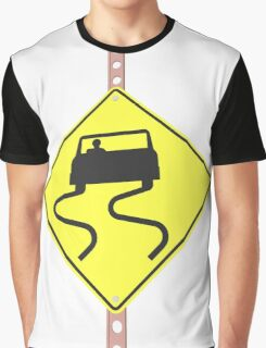 Slippery When Wet - 3d illustration of yellow roadsign isolated on white background Graphic T-Shirt
