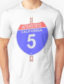 Interstate highway 5 road sign in California Unisex T-Shirt