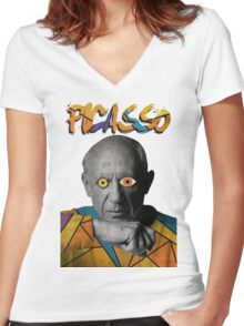 Picasso Photograph (Modern Art Style) Women's Fitted V-Neck T-Shirt