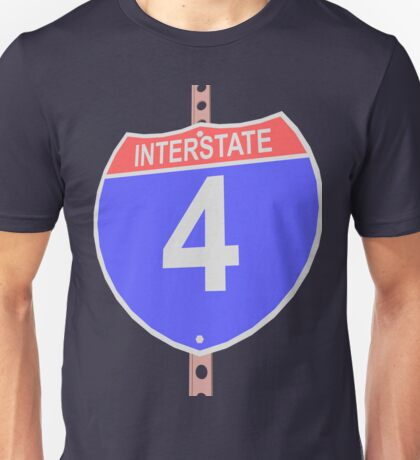 Interstate highway 4 road sign Unisex T-Shirt