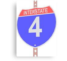 Interstate highway 4 road sign Canvas Print