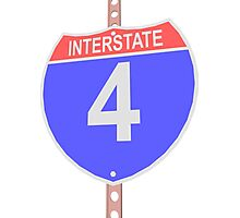 Interstate highway 4 road sign Photographic Print
