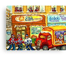 MONTREAL BREAKFAST RESTAURANT WITH DELIVERY TRUCK ORIGINAL PAINTING FOR SALE Canvas Print