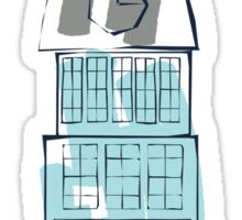 Downtown tall building with clock childish drawing Sticker