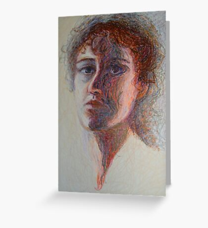 Two Faces - Portrait Of A Woman - Outsider Art Greeting Card