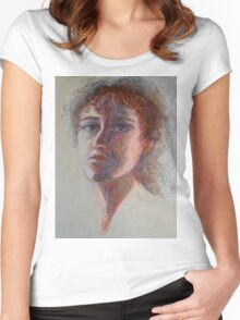 Two Faces - Portrait Of A Woman - Outsider Art Women's Fitted Scoop T-Shirt
