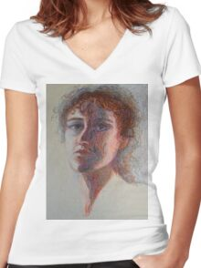 Two Faces - Portrait Of A Woman - Outsider Art Women's Fitted V-Neck T-Shirt
