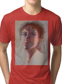 Two Faces - Portrait Of A Woman - Outsider Art Tri-blend T-Shirt