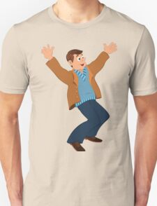 Cartoon man in blue sweater and brown jacket holding happily hands up Unisex T-Shirt