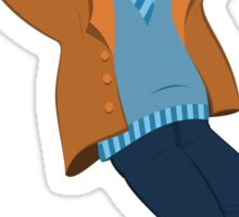 Cartoon man in blue sweater and brown jacket holding happily hands up Sticker