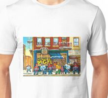 MONTREAL BAGEL SHOP ON ST. VIATEUR STREET CANADIAN PAINTINGS HOCKEY ART SCENES Unisex T-Shirt