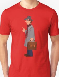 Cartoon man in gray hat coat and briefcase T-Shirt