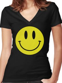 Smiley Women's Fitted V-Neck T-Shirt