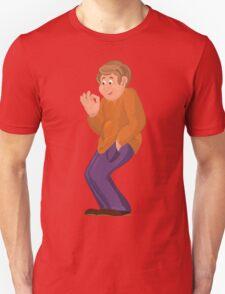Cartoon happy man in orange polo T-Shirt