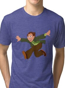 Cartoon man in green jacket running with hands wide open Tri-blend T-Shirt