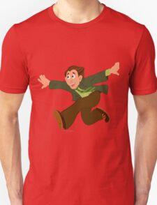 Cartoon man in green jacket running with hands wide open T-Shirt