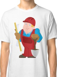 Cartoon man in red constrictor uniform and with spade Classic T-Shirt