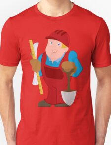 Cartoon man in red constrictor uniform and with spade T-Shirt