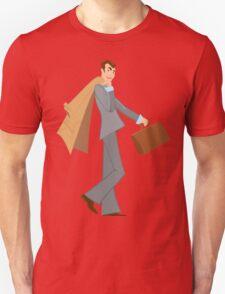 Cartoon man with brown briefcase walking T-Shirt