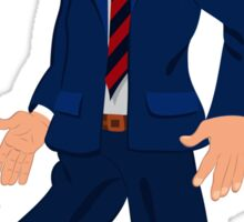 Cartoon man in blue suit striped tie and open mouth Sticker