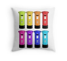 British Post Box Rainbow Throw Pillow