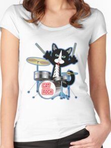 Cat Rock Drums No Background Women's Fitted Scoop T-Shirt