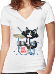 Cat Rock Drums No Background Women's Fitted V-Neck T-Shirt