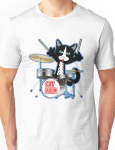 Cat Rock Drums No Background Unisex T-Shirt