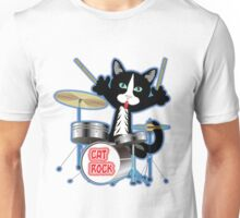 Cat Rock Drums No Background Unisex T-Shirt