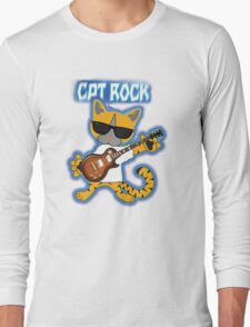 Cat Rock Guitar Clear Background Long Sleeve T-Shirt