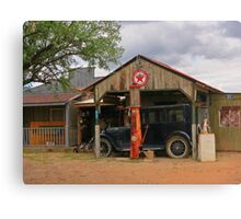 Old Gas Station and Antique Car Canvas Print