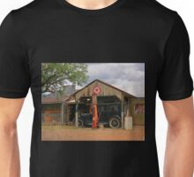 Old Gas Station and Antique Car Unisex T-Shirt