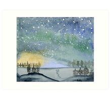 Northern Lights - Watercolor Painting Art Print