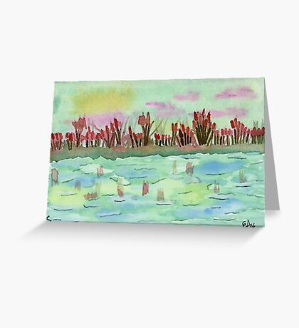 Sunset on the Pond Watercolor Painting Art Print Fine Art Print from Watercolor Painting Watercolor Wall Art Greeting Card