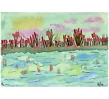 Sunset on the Pond - Watercolor Painting Photographic Print