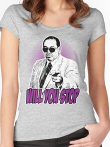 GORILLA MONSOON - WILL YOU STOP? Women's Fitted Scoop T-Shirt