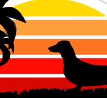 Dachshund on Sunset Beach Sticker