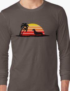 Dachshund on Sunset Beach Long Sleeve T-Shirt